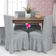 Set 6 huse scaune creponate si elastice (cu volanase) - Gri