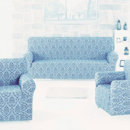 Set huse Multielastice Jacquard pentru canapea 3 Locuri, canapea 2 Locuri si 2 fotolii, fara volanas, Bleu