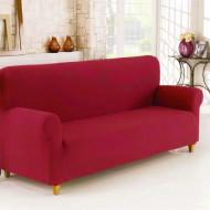 Husa elastica din bumbac reiat pentru Canapea 3 Locuri, culoare Rosu
