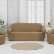 Set huse elastice pentru canapea 3 Locuri si 2 fotolii, fara volanas, Bej Inchis