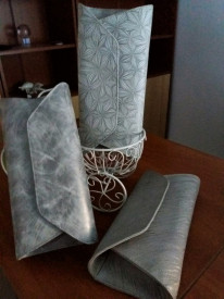 Plic piele model argintiu