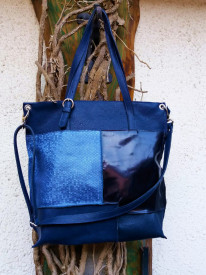 Geanta cu combinatii din diferite texturi de piele, model albastru