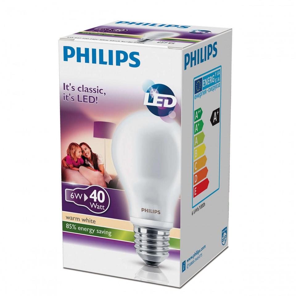 bec led philips ledclassic 6w a60 230v e27 alb cald. Black Bedroom Furniture Sets. Home Design Ideas