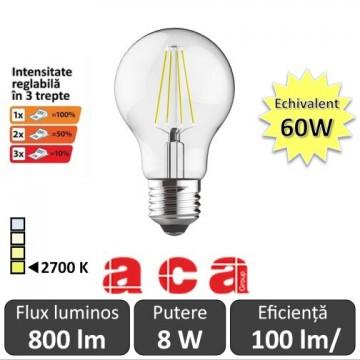 Poze Bec LED Aca Filament Dimabil in 3 trepte 8W E27 alb-cald