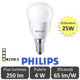 Bec LED Philips - CorePro LED luster frosted 4W P45 230V E14 alb-cald