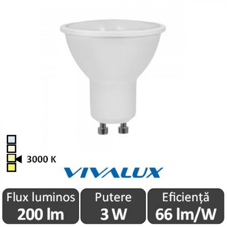 Poze Bec Vivalux LED SPOT GU10 Vivalux 3W Beta Led