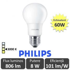 Poze Bec LED Philips - CorePro LED bulb 8W A60 230V E27 alb-cald