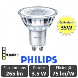 Bec LED Philips - CorePro LEDspotMV 3,5W GU10 830 36D alb-cald