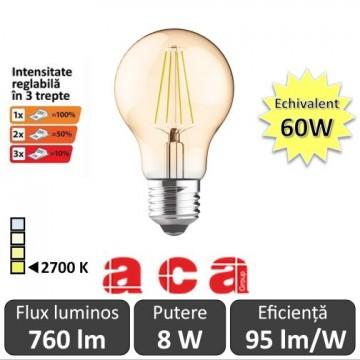 Poze Bec LED Aca Filament Dimabil in 3 trepte 8W E27 Amber alb-cald