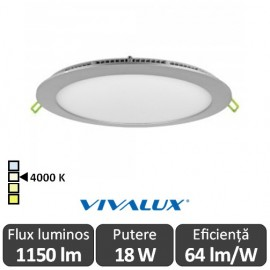Vivalux Panou ESTE LED Rotund 18W CL/SR 4000K Aluminiu