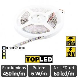 Bandă LED flexibilă - SMD2835 6W/m 12V IP66 rolă 5m alb-rece