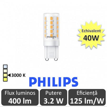 Bec LED Philips - LEDcapsuleMV 3.2-40W G9 230V alb-cald