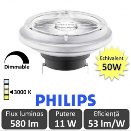 Bec LED Philips - MASTER LEDspot LV AR111 D 11-50W 24D 930 alb-cald