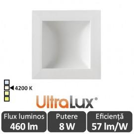Downlight Led Pătrat Lumină Indirectă 8W 4200K ( Alb-Neutru )