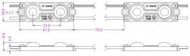 Modul LED 0.48W SMD5050 12Vdc IP65, alb-rece