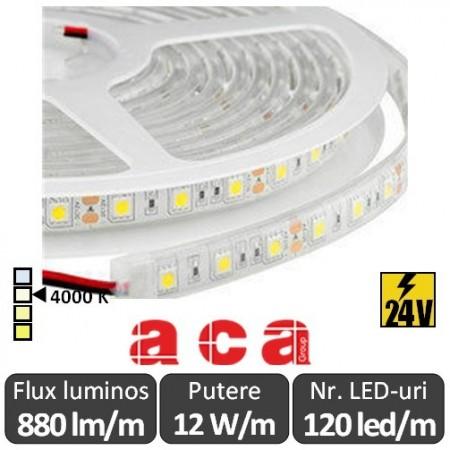 Bandă LED flexibilă - SMD2835 12W/m 24V rolă 5m alb-neutru