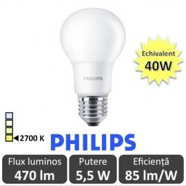 Bec LED Philips - CorePro LED bulb 5,5W A60 230V E27 alb-cald