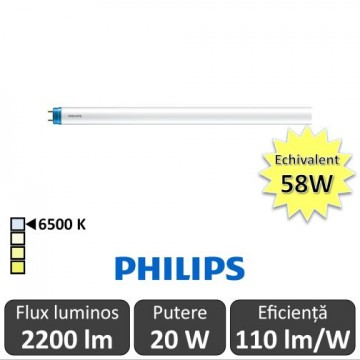Tub LED Philips CorePro LEDtube 1500mm 20W 865 C 230V, alb-rece
