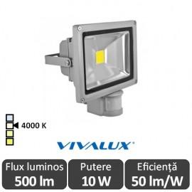 Vivalux - Proiector Solid LED de Exterior cu senzor 10W IP65 4000K