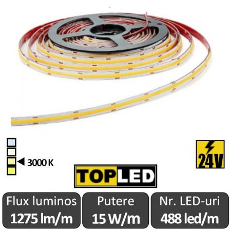 Banda LED COB 15W/m, cu emisie continua de lumina, alb cald