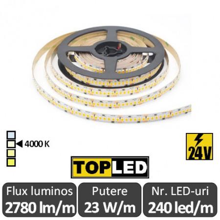 Bandă LED flexibilă - SMD2835 23W/m 240led/m CRI90 24V rolă 5m alb-neutru