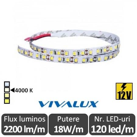 Bandă LED flexibilă - Vivalux Galo LED SMD2835 18W/m 12V rolă 5m alb-neutru