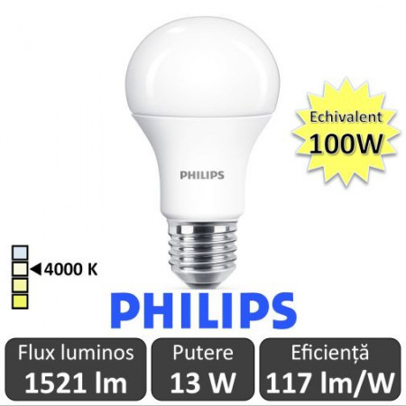 Philips led bulb 2x12.5-100W alb-neutru