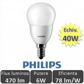 Bec LED Philips - CorePro LEDluster 6W E14 230V P48 alb-cald