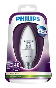 Poze Bec LED Philips - LEDcandle 5.5W E14 230V B35 CL alb-cald