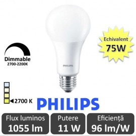 Bec LED Philips - Master LED bulb frosted DimTone 11W A67 230V E27 alb-cald