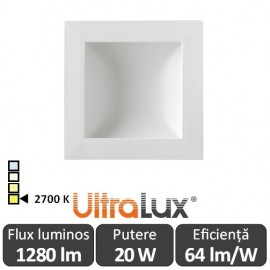Downlight Led Pătrat Lumină Indirectă 20W 2700K ( Alb-Cald )