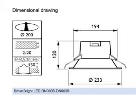 Philips Ledinaire DN010B LED18S/840 1800lm PSU WH