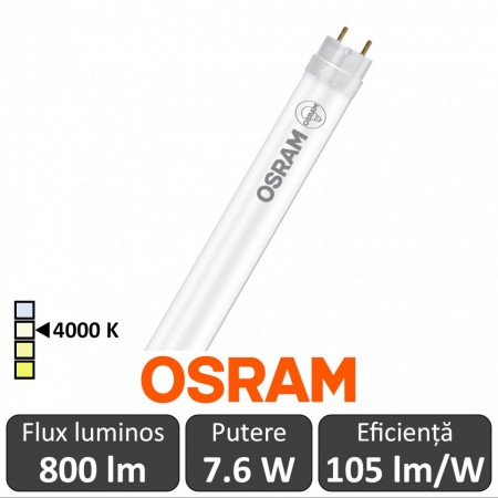 Tub LED Osram Ledvance LEDtube 600mm 7.6W 840 230V Glass, alb-neutru