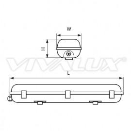 Vivalux CORP PENTRU TUBURI LED Rezistent la apa IP 65 2XT8 1.20 M