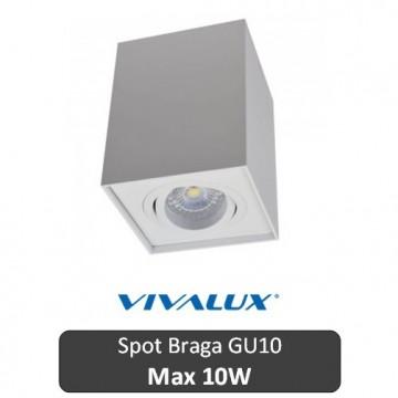 VIVALUX Spot Braga Patrat Alb 1XGU10