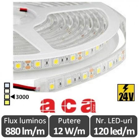 Bandă LED flexibilă - SMD2835 12W/m 24V rolă 5m alb-cald