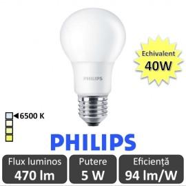 Bec LED Philips - CorePro LED bulb 5W A60 230V E27 alb-rece