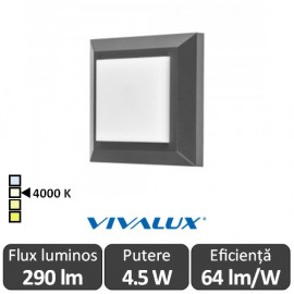 Poze Vivalux ALVIA SQ Led 4.5W IP65 4000K Alb-Neutru