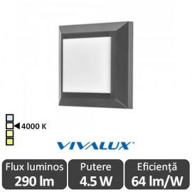 Vivalux ALVIA SQ Led 4.5W IP65 4000K Alb-Neutru