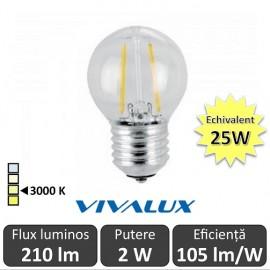 Bec LED Clasic Vivalux 2W 210lm E27 GF45