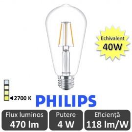 Bec LED Philips - Classic Filament LED 4W ST64 E27 827 alb-cald