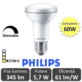 Poze Bec LED Philips - CorePro LED spot MV 5,7W R63 230V E27 alb-cald