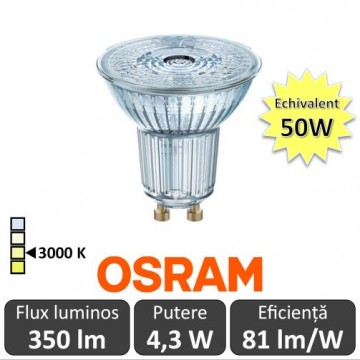 Bec OSRAM LED SPOT GU10 4.3W-50W 3000K