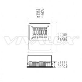 Vivalux - Proiector HELIOS LED de Exterior 20W IP65 6400K Alb-Rece Culoare Negru
