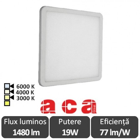ACA Lighting Panou Led Pătrat Flexi Alb 19W