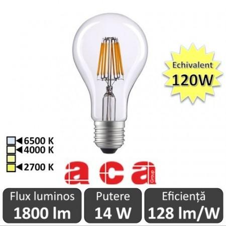 Bec LED Aca - Classic Filament LED 14-120W E27 827 alb-cald/neutru/rece