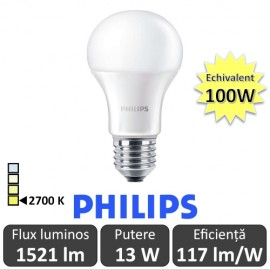 Bec LED Philips - CorePro LED bulb 13W A60 230V E27 alb-cald