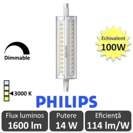 Poze Bec LED Philips - CorePro LED linear R7S 118mm 14-100W 830 alb-cald