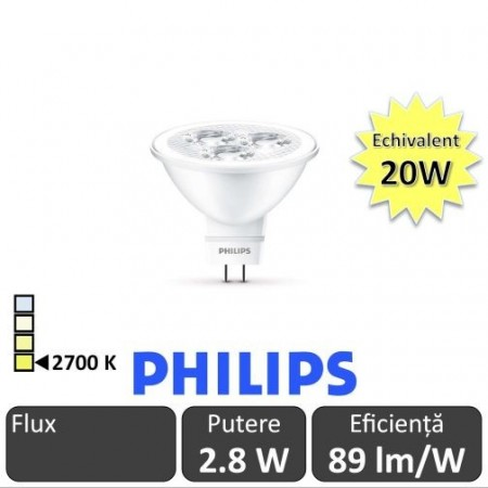 Bec LED Philips - LED spot classic LV MR16 2.8W GU5.3 12V 36D alb-cald