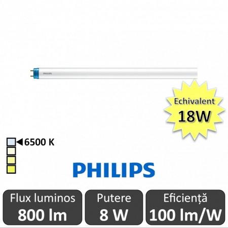 Tub LED Philips CorePro LEDtube 600mm 8W 865 C 230V Glass, alb-rece